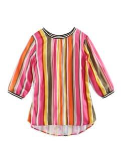 Viskose-Shirtbluse Bella Vita Streifen Pink Detail 2