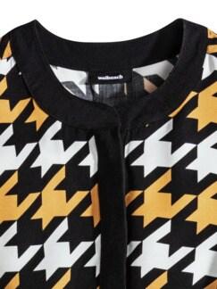 Shirtbluse Hahnentritt Schwarz/Gelb Detail 4