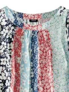 Shirtbluse Millefleurs-Streifen Multicolor Blau Detail 4