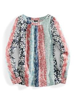Shirtbluse Millefleurs-Streifen Multicolor Blau Detail 3