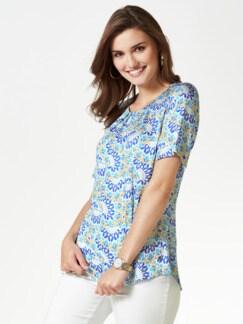 Viskose-Shirtbluse Bella Italia Blau Detail 1