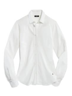 Extraglatt Pique-Bluse Weiß Detail 2