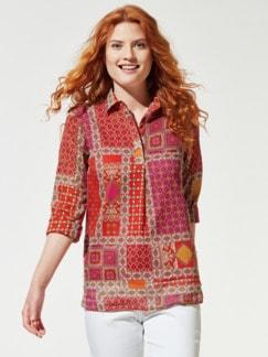 Patchwork Shirtbluse Safran/Violett Detail 1