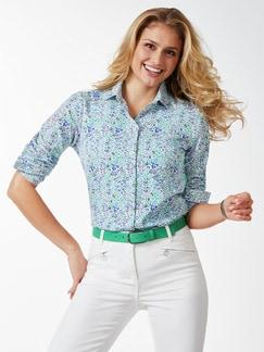 Extraglatt-Hemdbluse Sommerliebe Grün geblümt Detail 1