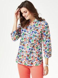 Shirtbluse-Sommerleicht Blumen Multicolor Detail 1