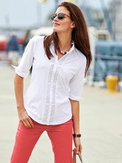 Jersey-Bluse Exquisit Weiß Detail 2