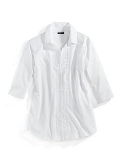 Jersey-Bluse Exquisit Weiß Detail 3