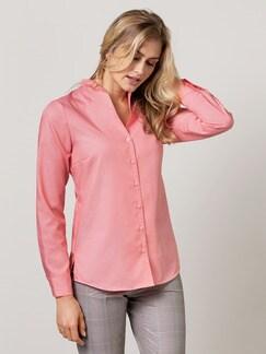 Extraglatt-Bluse Kelchkragen Flamingo Detail 1