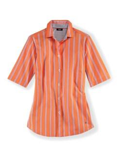 Extraglatt-Hemdbluse-Everyday Streifen Orange Detail 2
