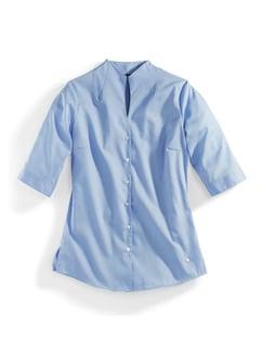 Extraglatt-Bluse Kelchkragen Blau Detail 2