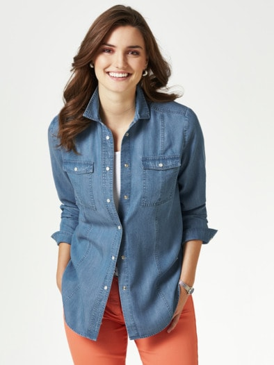 Lyocell Jeansbluse Extraleicht