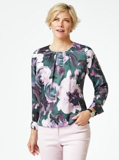 Edel-Shirtbluse Aquarellblüten
