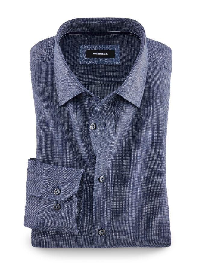 Denim-Leinenhemd Modern Fit