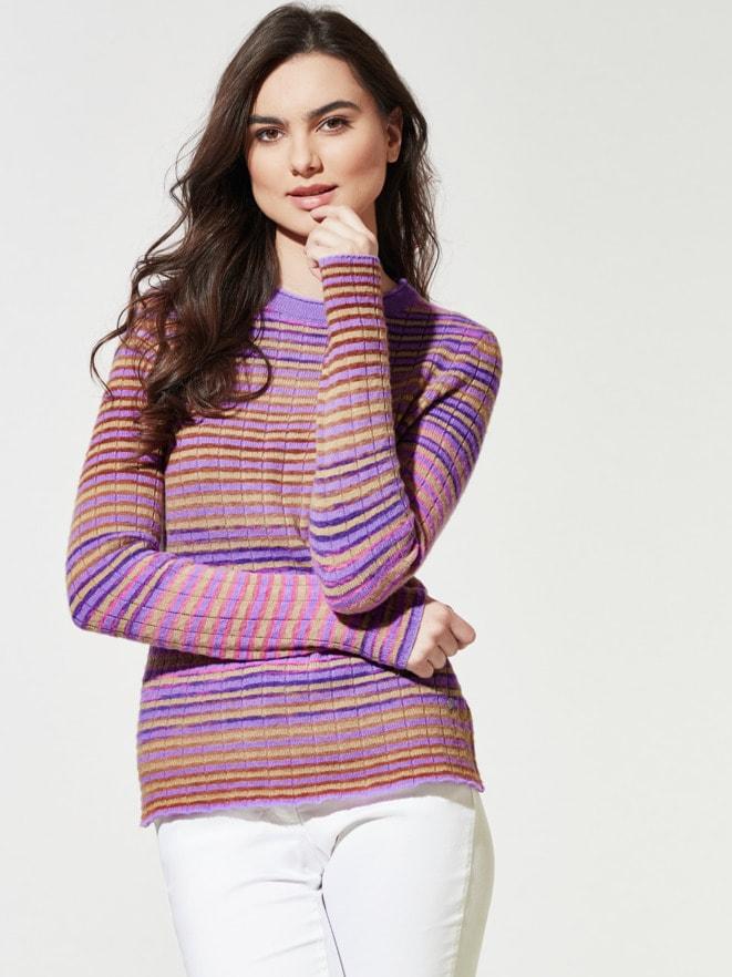 Multi-Ringel-Pullover Farbverlauf