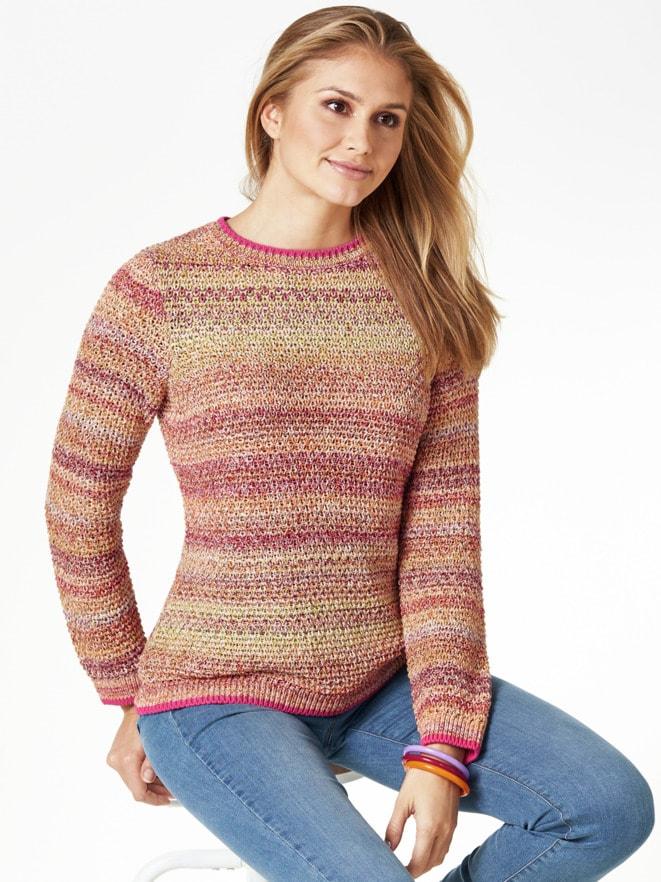 Multicolor-Pullover Wabenstrick