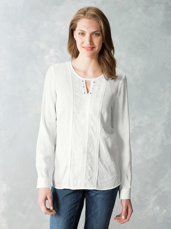 Just White Shirtbluse Spitzenwerk