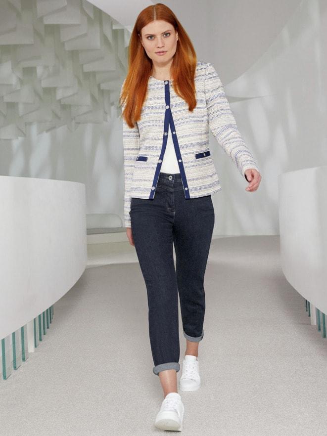 Outfit Rundhalsblazer Toskana
