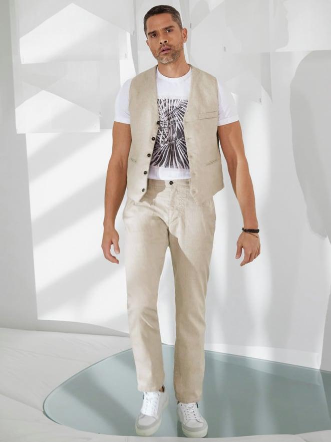 Outfit Künstler-Weste Leinenmix
