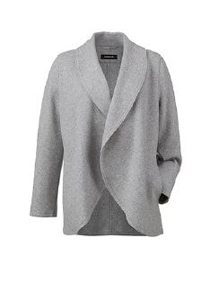 Woll Jersey Cardigan Silbergrau Detail 8
