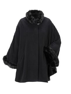 Exquisit Cashmere Cape  Schwarz Detail 4